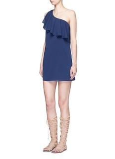 ALICE + OLIVIA'Francie' one-shoulder ruffle silk dress