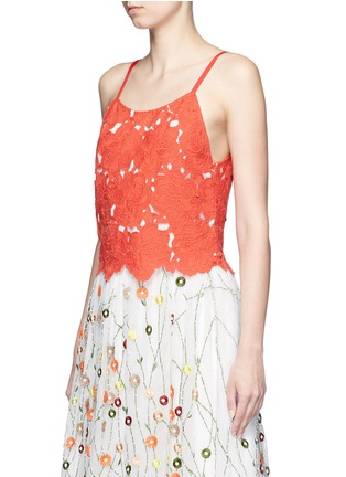 Front View - Click To Enlarge - alice + olivia - 'Alanis' floral embroidery cutwork camisole