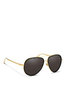 LINDA FARROWAluminium temple acetate rim aviator sunglasses