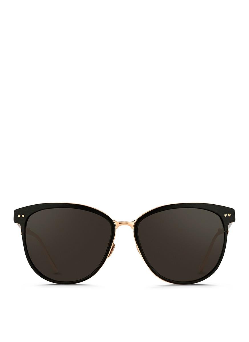 Inset acetate oversize aluminium sunglasses by Linda Farrow