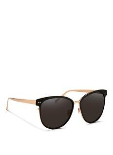 LINDA FARROW VINTAGEInset acetate oversize aluminium sunglasses