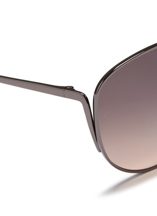 Detail View - Click To Enlarge - Linda Farrow - Titanium cat eye sunglasses