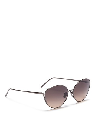 Figure View - Click To Enlarge - Linda Farrow - Titanium cat eye sunglasses