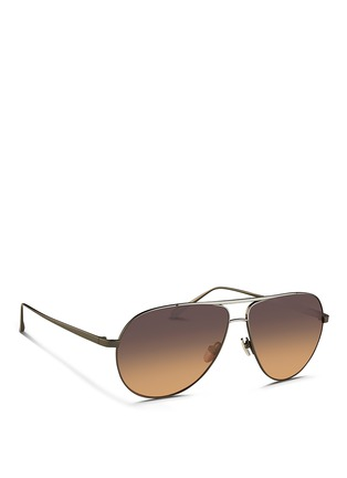 Figure View - Click To Enlarge - Linda Farrow - Contrast titanium aviator sunglasses