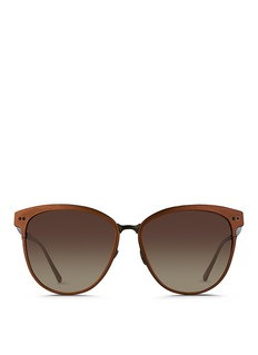 LINDA FARROWInset rim oversize aluminium sunglasses