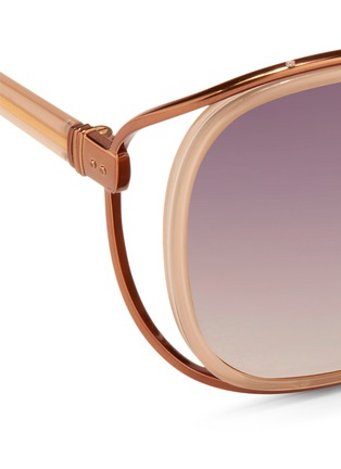 Detail View - Click To Enlarge - Linda Farrow - 'Unique Double' titanium rim oversize sunglasses