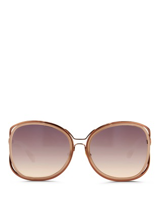 Main View - Click To Enlarge - Linda Farrow - 'Unique Double' titanium rim oversize sunglasses
