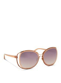 LINDA FARROW'Unique Double' titanium rim oversize sunglasses
