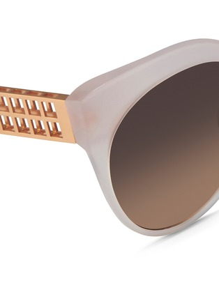 Detail View - Click To Enlarge - Linda Farrow - 22k gold-plated titanium caged temple acetate sunglasses