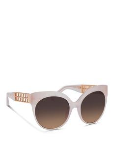 LINDA FARROW22k gold-plated titanium caged temple acetate sunglasses