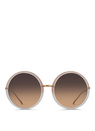 Linda Farrow - Round titanium temple acetate sunglasses