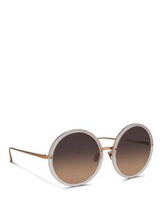 LINDA FARROWRound titanium temple acetate sunglasses