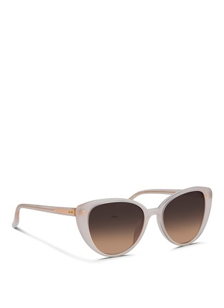 Figure View - Click To Enlarge - Linda Farrow - Wire core acetate cat eye sunglasses