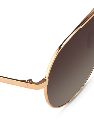 Detail View - Click To Enlarge - Linda Farrow - Contrast bridge titanium aviator sunglasses