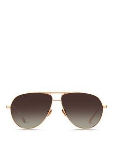 Linda FarrowContrast bridge titanium aviator sunglasses