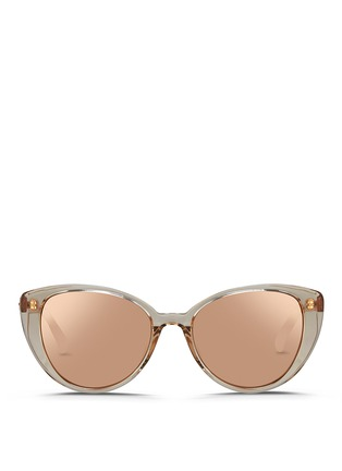 Main View - Click To Enlarge - Linda Farrow - Acetate cat eye mirror sunglasses