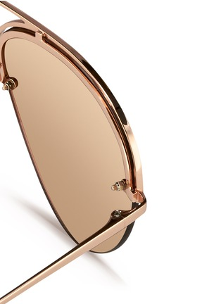 Detail View - Click To Enlarge - Linda Farrow - Half rim titanium aviator mirror sunglasses