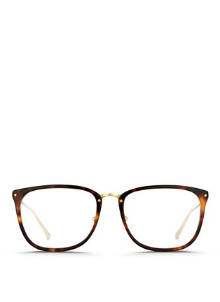Main View - Click To Enlarge - Linda Farrow - Titanium temple tortoiseshell effect acetate optical glasses