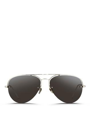 Main View - Click To Enlarge - Linda Farrow - Half rim titanium aviator sunglasses