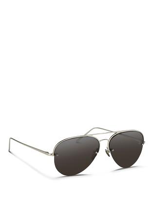 Figure View - Click To Enlarge - Linda Farrow - Half rim titanium aviator sunglasses
