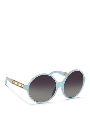 Figure View - Click To Enlarge - Linda Farrow - Titanium caged temple acetate round sunglasses