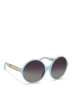 LINDA FARROWTitanium caged temple acetate round sunglasses