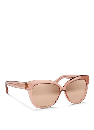 Figure View - Click To Enlarge - Linda Farrow - Transparent acetate cat eye mirror sunglasses