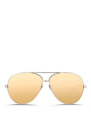 Main View - Click To Enlarge - Linda Farrow - Titanium aviator sunglasses