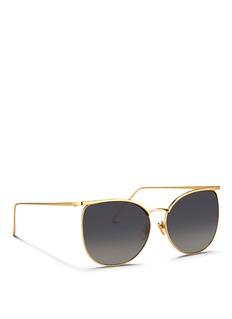 LINDA FARROWTitanium D-frame sunglasses