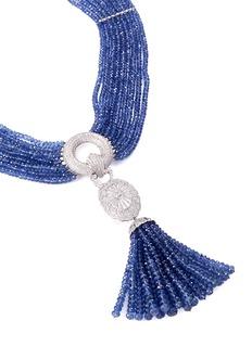 LC Collection Diamond sapphire 18k gold tassel necklace