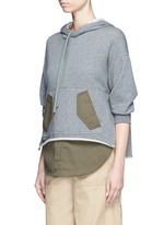 Twill panel French terry utility sweatshirt