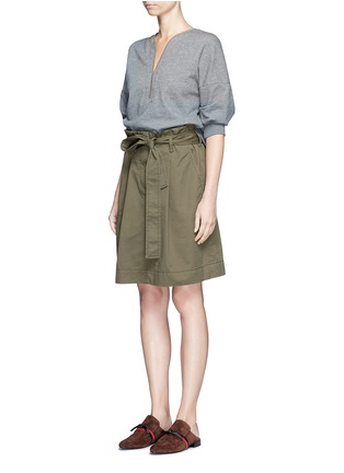 Front View - Click To Enlarge - 3.1 Phillip Lim - French terry twill combo belted utility dress