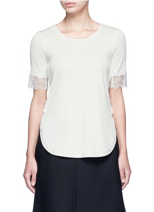 Main View - Click To Enlarge - 3.1 Phillip Lim - Raw lace cuff rib knit T-shirt