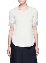Raw lace cuff rib knit T-shirt