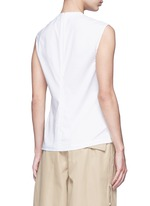 Button neck poplin rib knit combo sleeveless top