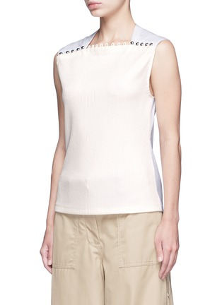 Front View - Click To Enlarge - 3.1 Phillip Lim - Button neck poplin rib knit combo sleeveless top