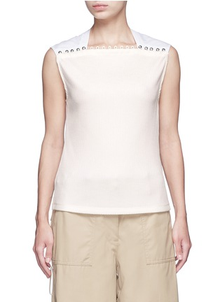 Main View - Click To Enlarge - 3.1 Phillip Lim - Button neck poplin rib knit combo sleeveless top