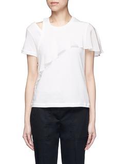 3.1 Phillip LimRuffle overlay cutout T-shirt