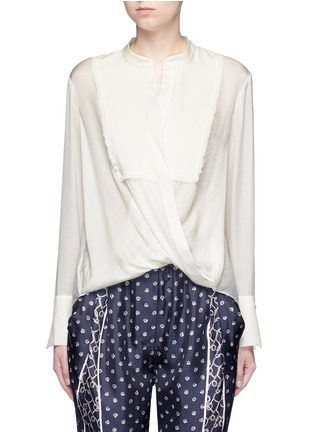 Main View - Click To Enlarge - 3.1 Phillip Lim - Fringed drape front top
