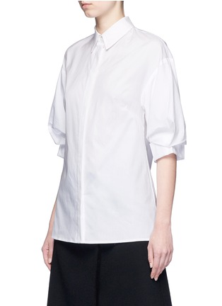 Front View - Click To Enlarge - 3.1 Phillip Lim - Ruched sleeve cotton poplin shirt