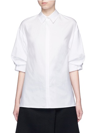 Main View - Click To Enlarge - 3.1 Phillip Lim - Ruched sleeve cotton poplin shirt