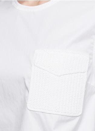 3.1 Phillip Lim-Crochet knit pocket poplin top