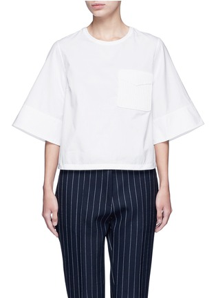 Main View - Click To Enlarge - 3.1 Phillip Lim - Crochet knit pocket poplin top