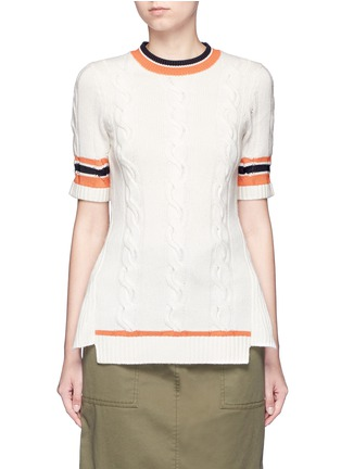Main View - Click To Enlarge - 3.1 Phillip Lim - Collegiate stripe cable knit sweater tee