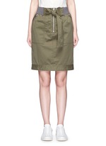 Twill belted utility skirt