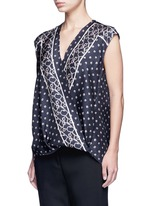 Scarf print surplice front sleeveless silk top