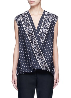 3.1 Phillip Lim Scarf print surplice front sleeveless silk top