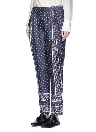 Front View - Click To Enlarge - 3.1 Phillip Lim - Friendship knot scarf print drape pants
