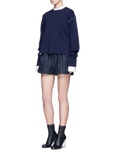 3.1 Phillip Lim Silk rope embroidery piqué shorts