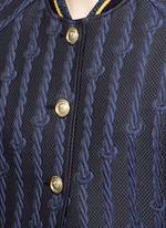 Friendship knot appliqué varsity bomber jacket